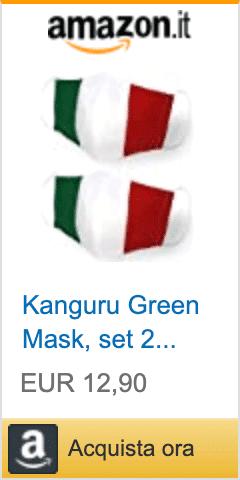 2 mascherina con bandiera italiana, 100% cotone, lavabili, riutilizzabile